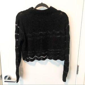 EUC Black Velvet mesh striped cropped sweater